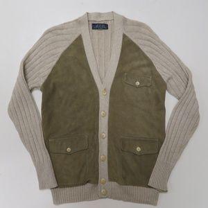 Ralph Lauren Leather & Silk Pocket Cardigan
